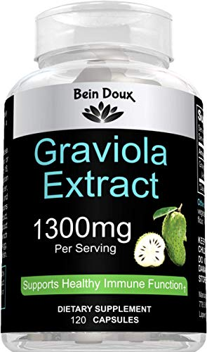 Graviola Capsules 1300 mg Optimal Concentration 60 Servings | Immune System Booster - Powerful Antioxidant | Organic Soursop Leaves Supplement