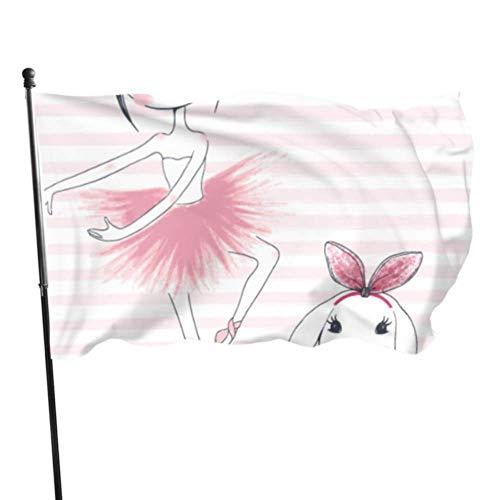GOSMAO Bandera de jardín Linda Bailarina Rosa Color Vivo y UV Resistente a la decoloración Bandera de Patio de Doble Costura Bandera de Temporada Bandera de Pared 150X90cm