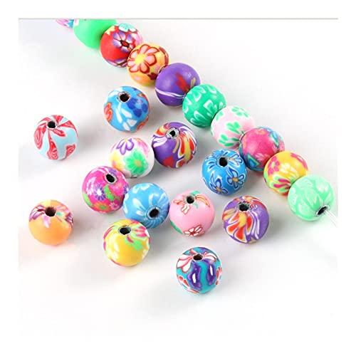 JINGGEGE 50 cuentas sueltas de arcilla de 10 mm para mezclar frutas, corazón, estrella, forma de sonrisa, cuentas de arcilla para hacer joyas (color: bola, diámetro del artículo: 100 piezas)