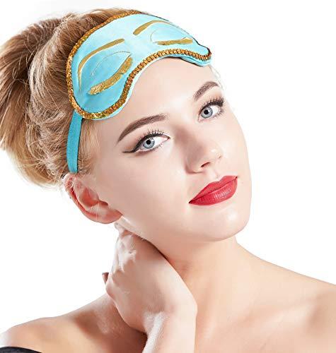 ArtiDeco Schlafmaske Damen Augenmaske Spaß Schlafbrille Nette Sleeping Beauty Muster Augenblende zum Schlafen Schlafmask (Blau)