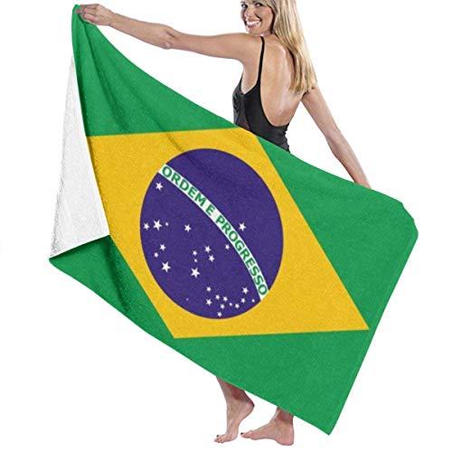 Toalla de baño Grande de poliéster con Bandera de Brasil, Toalla de Playa Ligera y Absorbente de 130x80 cm, Secado Suave y rápido