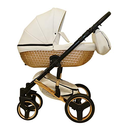 Kinderwagen Isofix 3in1 2in1 Buggy Luxus Specchio by Lux4kids Beige Copper 06 4in1 Autositz +Isofix