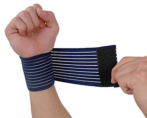 ThreeH Reversible Sport Handgelenkstütze Kniebandage für Volleyball Badminton Tennis Basketball S28, Blau (2er Pack)