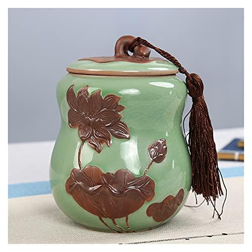 Baobaoshop Caja de Almacenamiento de té de Forma de Calabaza 1 Pieza Estilo Chino té Tarro de Porcelana Polvo de Porcelana Tanque de Almacenamiento Cocina Especia Embalaje Caja decoración de casa