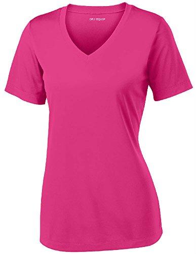 Women's Short Sleeve Moisture Wicking Athletic Shirt-Raspberry-S