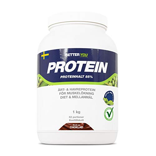 BETTER YOU Vegan Protein Powders Shake Snack Pea & Oat Blend Plant-Based Lactose Free 1kg 62 Servings - Chocolate