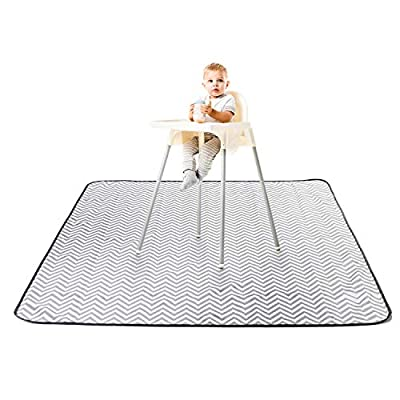 "BabyGaga Splat Mat for Under Highchair 51"", Waterproof, Washable Spill Mat for Floor or Table, Art, Crafts, Playtime, Water-Resistant Anti-Slip Floor Splash Mat, Portable Play Mat and Tablecloth"