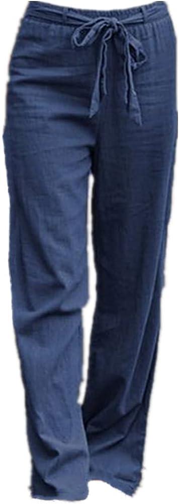 NP Women's Pants Casual Color Long Straight Pants Waist Belt Wide Leg Pants
