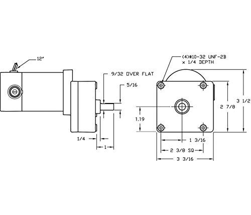 DC Gearmotor, 93 rpm, 90V, TENV