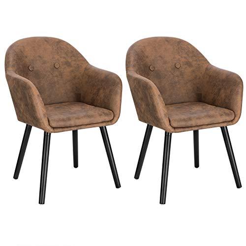 WOLTU Esszimmerstühle BH258br-2 2er Set Küchenstuhl Wohnzimmerstuhl Polsterstuhl Design Stuhl mit Armlehne, Sitzfläche aus Stoffbezug, Gestell aus Massivholz, Braun