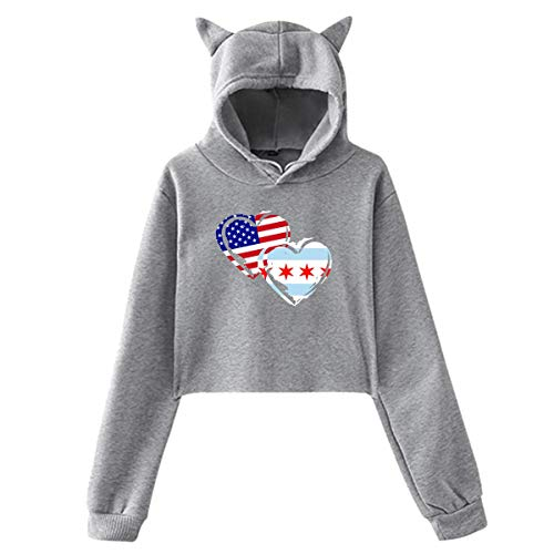 WLQP Camiseta sin Mangas para Hombre Womens Cute Cat Ear Hoodie Sweatshirts Chicago-American Flag Love Heart Setu Asana Hooded Pullover
