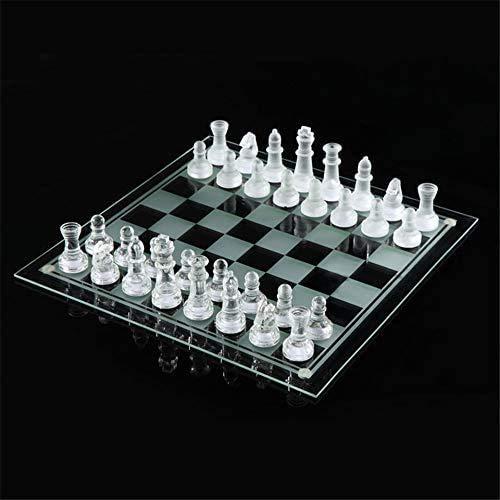 MNBV Juego de ajedrez de Cristal, Piezas de ajedrez de Cristal y Tablero de ajedrez de 9,8 x 9,8 Pulgadas, 16 Piezas esmeriladas y 16 Transparentes año Nuevo