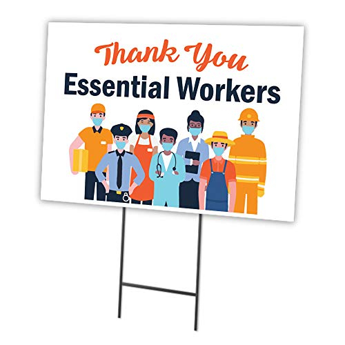SignMission Thank You Essential Workers 12' X 16' Yard Sign & StakeÃ' | Protect Your Business, Municipality, Home & Colleagues | Made in The USA (OS-NS-C-1216-25331)