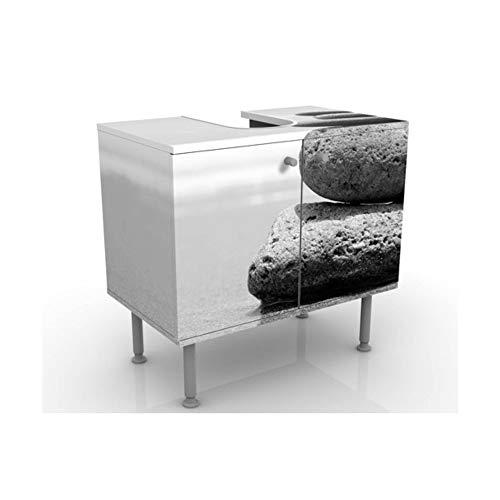 Meuble sous Vasque Design Sand Stones No.2 60x55x35cm, Petit, 60 cm de Large, réglable, Table de lavabo, Armoire de lavabo, lavabo, Meuble Bas, Baignoire, Salle de Bains, Armoire de Salle Bains