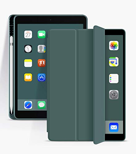 RZL PAD & TAB cases For iPad 6th Generation iPad 9.7 2018 Pro 11, Anti-Dust waterproof Shockproof Case with Pencil Holder for iPad 10.2 2019 10.5 Air 3 (Color : Dark green, Size : Pro 11 2020)