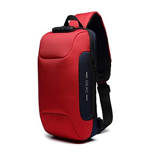 OZUKO Herren Diebstahlsichere Brusttasche Umhängetasche, Anti-Diebstahl-Sling-Schulter-Umhängetasche Rucksack wasserdichte Schultertasche mit USB-Ladeanschluss (Rot)