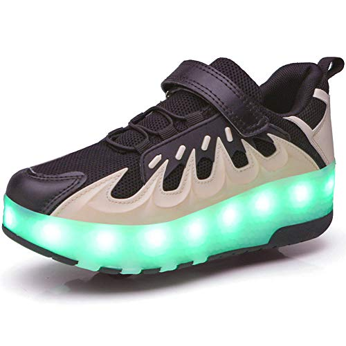 YUNICUS Kids Wheelies Shoes for Girls Light Up Led Shoes, Cyberpunk Roller Skate Sneakers for Boys Black White Size 3