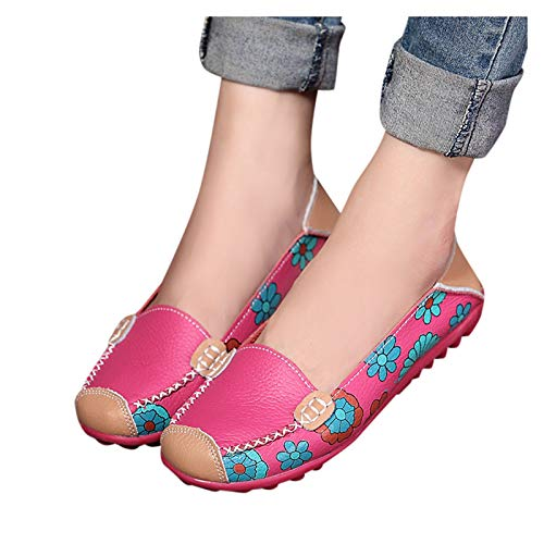Aniywn Womens Comfortable Faux Leather Floral Print Slip On Flats Casual Driving Loafers Walking Shoes for Women Hot Pink