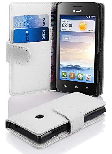 Cadorabo Hülle für Huawei Ascend Y330 in Magnesium WEIß – Handyhülle aus Strukturiertem Kunstleder mit Standfunktion & Kartenfach – Hülle Cover Schutzhülle Etui Tasche Book Klapp Style