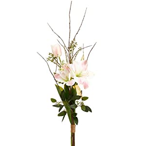 39″ Handwrapped Amaryllis, Tulip & Lilac Silk Flower Bouquet -White/Pink (Pack of 6)