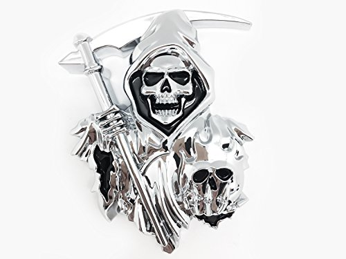 3D Grim Reaper Decal for any Flat Surface - Chrome Car Decals - Truck or Car Stickers that feature Custom Chrome Decal of Grim Reaper Skull as a 3D Emblem