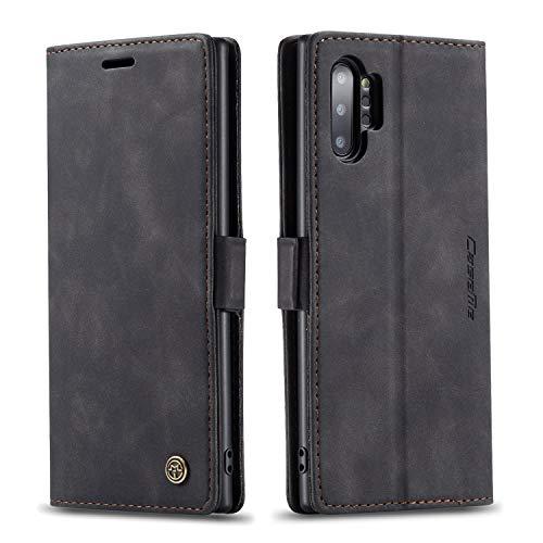 mvced Handyhülle Kompatibel mit Samsung Galaxy Note 10 Plus,Premium Leder Flip Hülle Schutzhülle mit Standfunktion,Schwarz