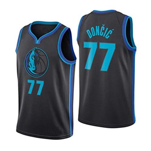 Mavericks 77# Doncic Herren T-Shirt Basketball Trikot Fan Sweatshirt Retired Basketball Shirt Ärmelloses Shirt Shorts Gym Outdoor Sports Wettkampf Druck Gr. XS, schwarz 1