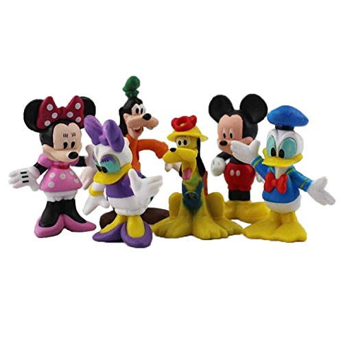 qinhuang 6Pcs/Set Figure Toy Mickey Minnie Mouse Donald Daisy Duck Pluto Goofy Pvc Action Figure, Cartoon Model Doll Gift For Kids