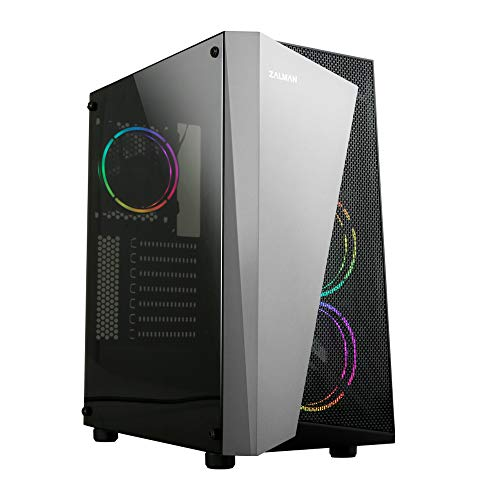 Zalman S4 Plus ATX Mid Tower Gaming PC Case, 3 x 120mm Pre-Installed RGB Fans, Acrylic Side Panel