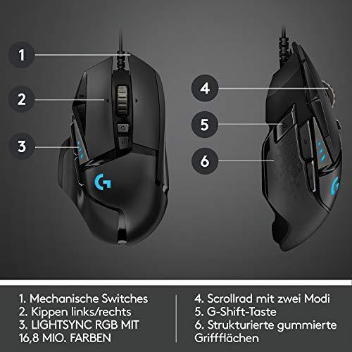 Logitech G502 HERO High-Performance Gaming-Maus mit HERO 25K DPI optischem Sensor, RGB-Beleuchtung, Gewichtstuning, 11 programmierbare Tasten, anpassbare Spielprofile, PC/Mac, Schwarz - 6