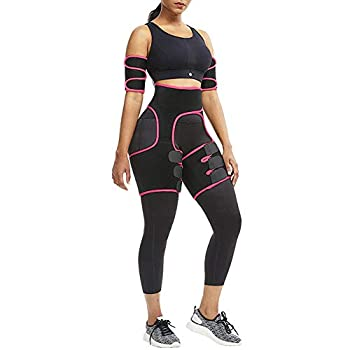 Reshe Waist Trainer for Women - Arm + Waist + Thigh Trimmer - Slimming Body Corset Hip Enhancer - Sweat Band Tummy Control for Weight Loss Pink S