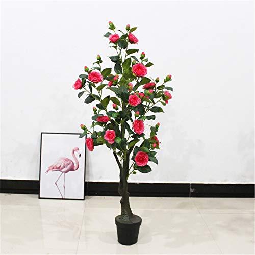 YDHG Flores Artificiales Inicio Oficina Muebles Planta Decoración Plástico Árbol Simulación Camelia Bonsai Tree Bouquet para la decoración de Bricolaje de la casa de Boda