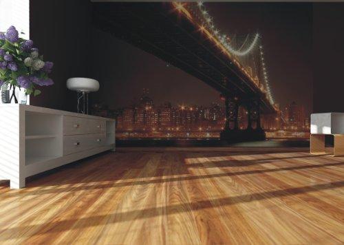 AG Design FTxxl 0152 Brooklyn Bridge in de nacht, papieren fotobehang - 360x255 cm - 4 delen, papier, multicolor, 0,1 x 360 x 255 cm