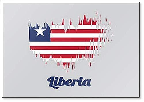 Kühlschrankmagnet Liberia Flagge, Pinsel-Stil, Illustration