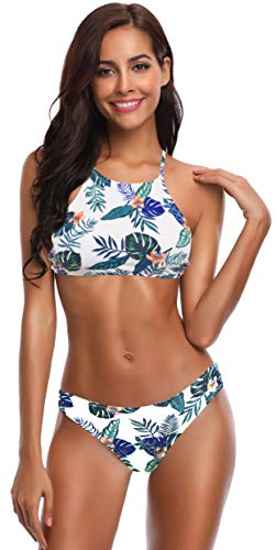 SHEKINI Damen Neckholder Push Up Sport Streifen Bikini Set Bandeau Strandmode Bademode Badeanzug Zweiteilige Gepolstert Strandkleidung Split (M, Blumen-Druck in Grün)