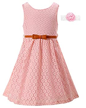 Girls Dresses for Casual Wedding Party Bridesmaid Church Kids Lace Pink Sleeveless Fancy Vintage Long Dress Girls Formal Dresses 7-16 Pink Casual Dresses for Teens  Size 10-11 Years =Pink-170