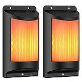 RUYICZB Außen Menschlicher Körper Induktion Solar-Flamme Helle, Flamme Wand blinkendes Sicherheits-Licht, 2 Leuchtstufen mit 66 LEDs für Garten, Hof, Wand, Terrasse, Feiertags-Dekoration,...
