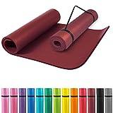 GORILLA SPORTS® Yogamatte mit Tragegurt 190 x 100 x 1,5 cm Rot rutschfest u. phthalatfrei – Gymnastik-Matte für Fitness, Pilates u. Yoga in Braun