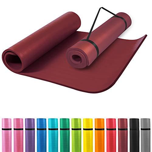 GORILLA SPORTS® Yogamatte mit Tragegurt 190 x 60 x 1,5 cm rutschfest u. phthalatfrei – Gymnastik-Matte für Fitness, Pilates u. Yoga in Braun