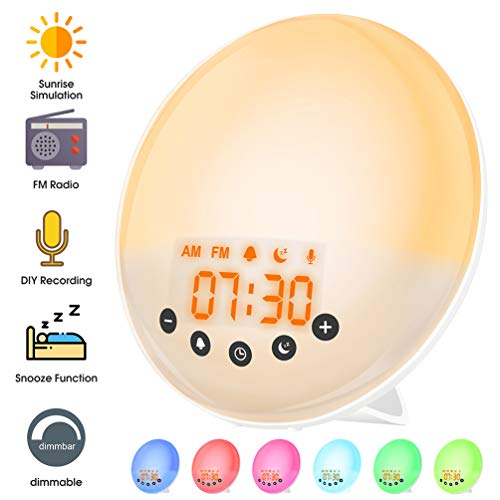 Lichtwekker, Wakeup Light wekker zonsopgang, 9 wekgeluiden DIY geluidsopname wit ruis, wekker met licht 7 kleuren dimbaar, LED digitaal horloge voor kinderen volwassenen USB-alarm klok