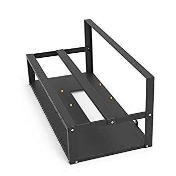 ROIY Mining Rig Frame case Steel Open Air Miner Accessories,Slot Hold Up to 8 GPU for Crypto Coin Currency Bitcoin Mining-Bitcoin Miner Machine Plug and Bitcoin Miner Machine antminer Frame  Black