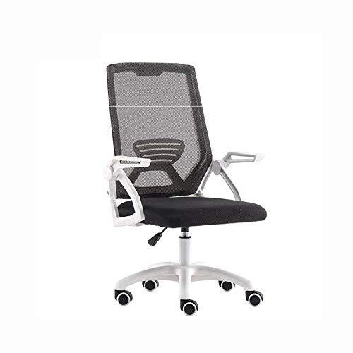 JCXOZ-silla de oficina Asiento de trabajo blanco, Tela Inicio Asiento de trabajo de oficina blanco giratoria moderna Confort con armas y regulable en altura adecuados for ordenador de trabajo y reunio