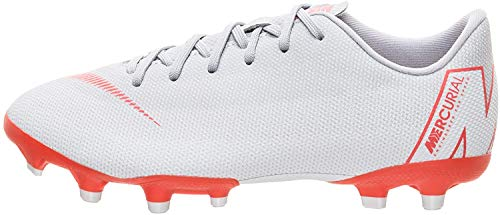 Nike Jr Vapor 12 Academy GS FG/MG, Zapatillas de fútbol Sala Unisex niño, Multicolor (Wolf Grey/Lt Crimson/Pure Platinum 060), 33 EU