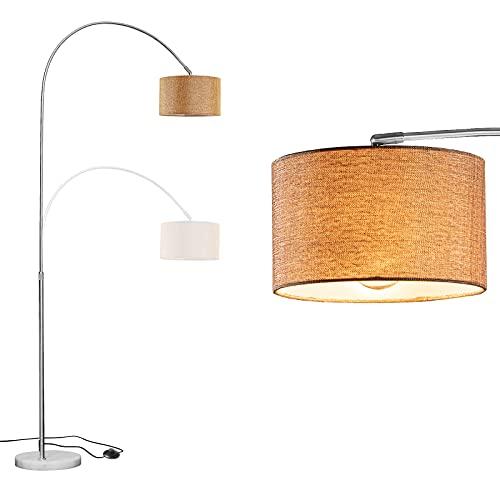 WUDSEE - Lámpara de arco (altura regulable, base de mármol y pantalla de tela dorada, 1 bombilla E27, adecuada para lámparas normales de hasta 60 W)