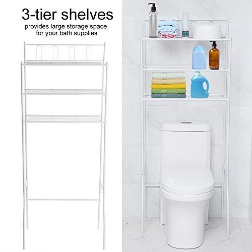 T-Day Portaoggetti per WC, Ripiano per Bagno, Portaoggetti per WC sopra Ripiano per WC Organizzatore Salvaspazio Ripiano per Bagno (Bianco)