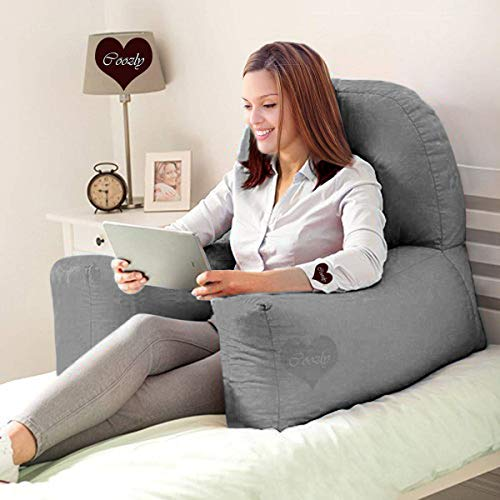 COOZLY Backrest Pillow/Cushion with Cover, 29x22 inch, Dark Grey