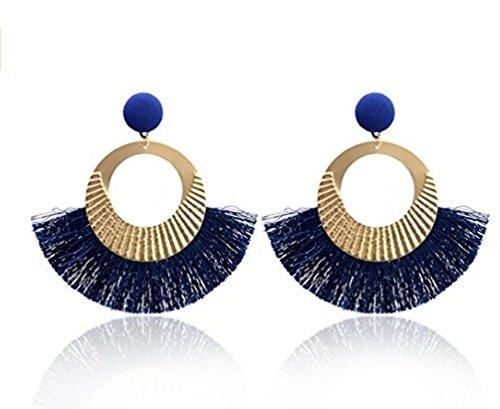 Yuhemii donne Fashion Style Bohemia cerchio a forma di ventaglio nappe orecchini etnici orecchini gioielli regali Blue