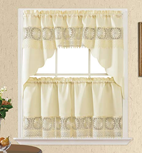 Daisy Dream. Kitchen Cafe Curtain Set for Small Windows. Satin Fabric with Matching Color Daisy Embroidery and Lace. (Beige, Swag and 24 inches Tiers Set)