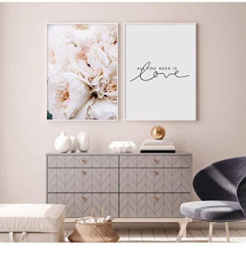 Blush roze pioenen alles wat je nodig hebt is liefde muur kunst foto's canvas schilderijen, affiches en prints voor slaapkamer huis decoratieve 50x70cmx2 geen frame
