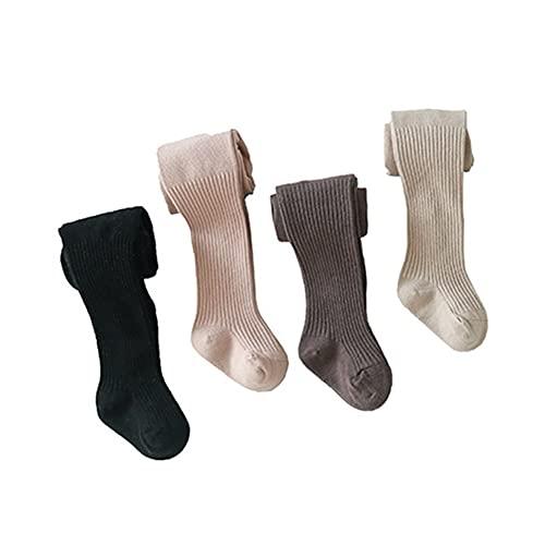 ZHANGYAN Medias de niña Baby Girls Medias Cable Knit Leggings Medias de algodón 4 Paquete Pantyhose Infants Toddlers1-8T (Color : 4 Packs A, Size : 2-4 Years)